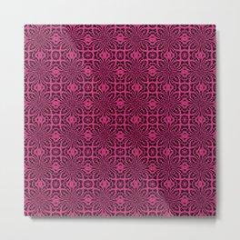 Pink Yarrow Geometric Floral Abstract Metal Print