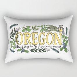 Oregon State Motto Bird Flower Nature Hand Drawn Art Rectangular Pillow