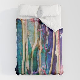 Paint drip cool colors Comforters
