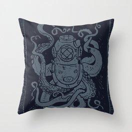 Mark V Octopus - navy Throw Pillow