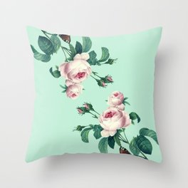 Roses Mint Green + Pink Throw Pillow