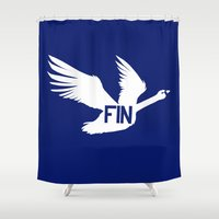 finland Shower Curtains featuring National Bird of Finland by Infinite Sparrow
