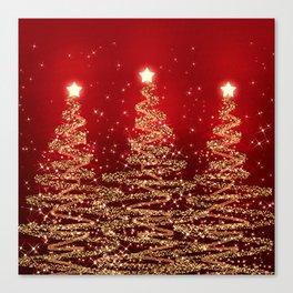 Elegant Christmas Sparkling Trees Red  Canvas Print