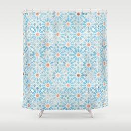 Hara Tiles Light Blue Shower Curtain