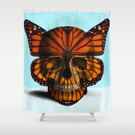 SKULL (MONARCH BUTTERFLY) Shower Curtain