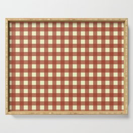 BRICK RED CHECK Serving Tray