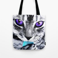 thundercats Tote Bags featuring Purple eyes Cat by Augustinet
