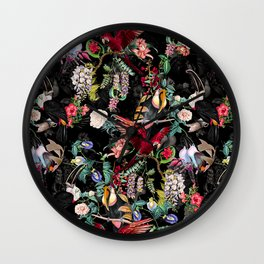 Floral and Birds IX Wall Clock