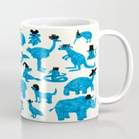 hats Mugs featuring Blue Animals Black Hats by WanderingBert / David Creighton-Pester