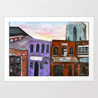 broadway Art Prints featuring Broadway by Becky Shelton
