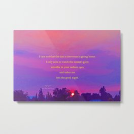 """Sultry Day Sunset"" with poem: Stay Metal Print"