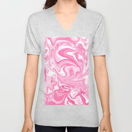 Pastel Pink Swirly Paint Pour Pattern  Unisex V-Neck