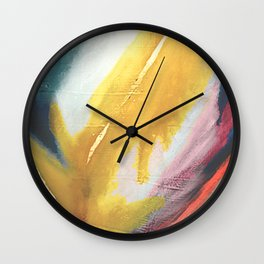 Ambition: a colorful abstract piece in bold yellow, blue, pink, red, and gold Wall Clock