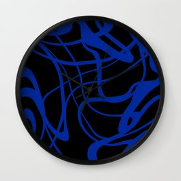 Blue lines on black background Wall Clock