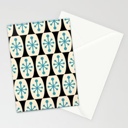 Mid Century Modern Atomic Fusion Pattern 311 Blue and Black Stationery Cards