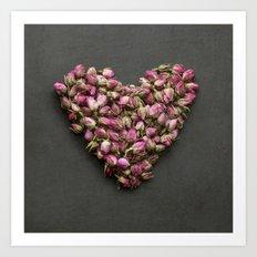 Rose Bud Heart Art Print
