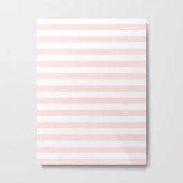 Narrow Horizontal Stripes - White and Pastel Pink Metal Print
