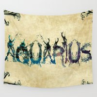 aquarius Wall Tapestries featuring Aquarius by PlanetaryDreamz