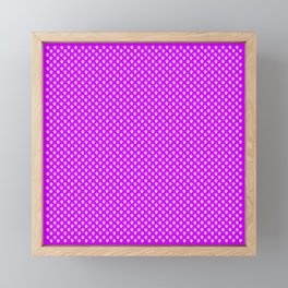 Tiny Paw Prints Pattern - Bright Magenta and White Framed Mini Art Print