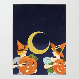 Vintage Halloween Costume Party Pumpkin Carving Poster