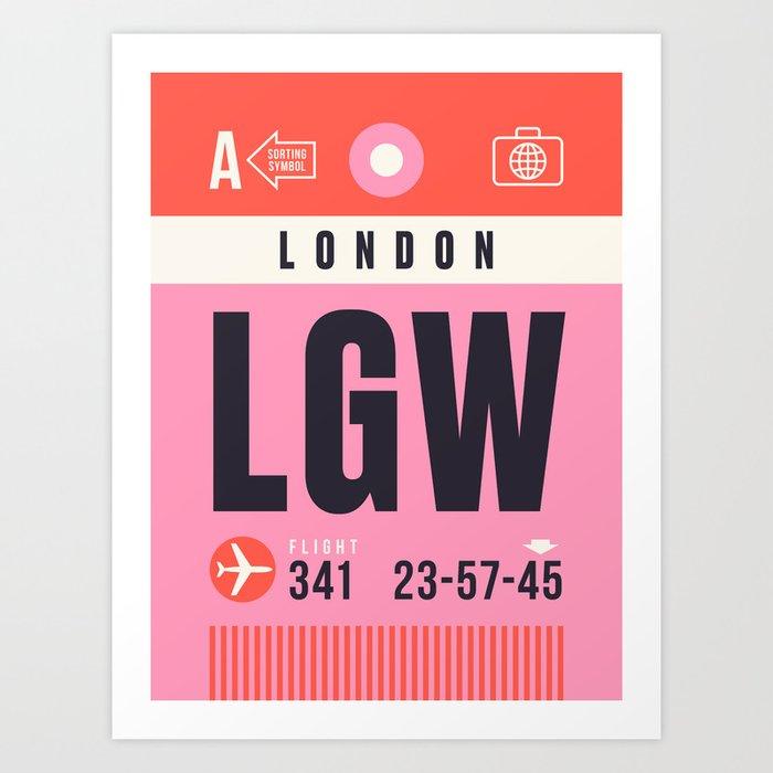Baggage Tag A - LGW London Gatwick England UK Kunstdrucke
