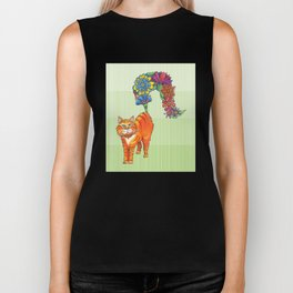 A Cat Sprouting Flowers Biker Tank