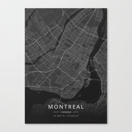 Montreal, Canada - Dark Map Canvas Print