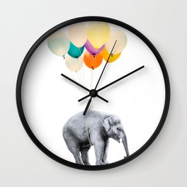 Dreaming Elephant Flying, Animal Zoo Nursery Photo, Large Printable Birthday Party Balloons Wall Art Wall Clock