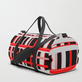 Lines stripes black red 02 Duffle Bag