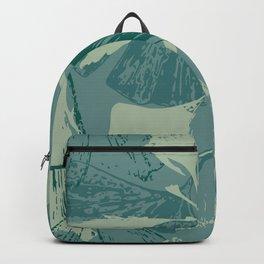 Stamped Gingko Leaves in Sage Green Backpack