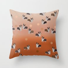 corgi dots - rust Throw Pillow