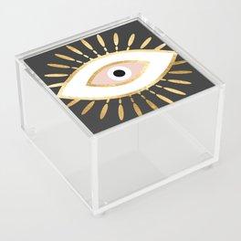 gold foil evil eye in blush Acrylic Box