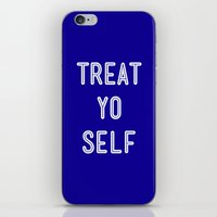 parks and recreation iPhone & iPod Skins featuring Treat Yo Self Blue - Parks and Recreation by Sandra Amstutz