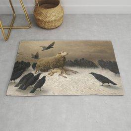 Anguish - August Friedrich Albrecht Schenck - Ravens and Sheep Rug