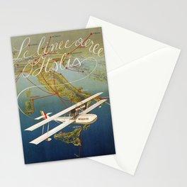 Vintage 1920s Island plane shuttle Italian travel Stationery Cards