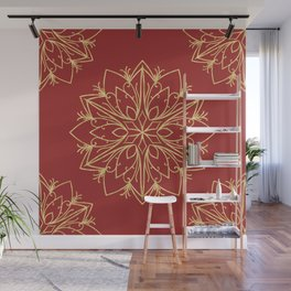 Golden Snowflake Wall Mural