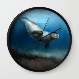 Seal (Low Poly Blue) Wall Clock