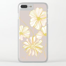 Sadie Line Flowers on Gray Clear iPhone Case