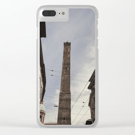 Two Towers, Bologna, Emilia Romagna, Italy, street photography, Torre degli Asinelli, italian city Clear iPhone Case