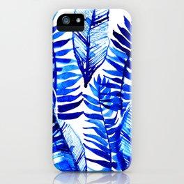 Jungle Leaves & Ferns in Blue iPhone Case