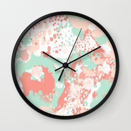 Poppy - minimal trendy gender neutral bright happy color palette nursery art Wall Clock