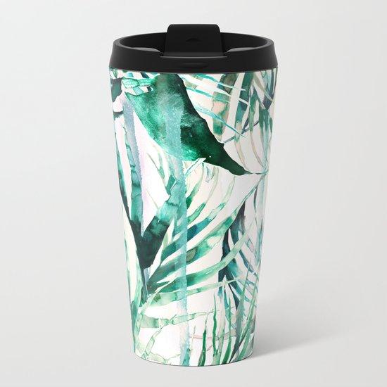 Green Tropical paradise  Metal Travel Mug