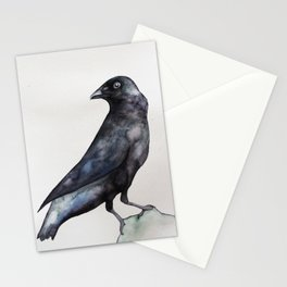 watercolour crow illustration Stationery Cards