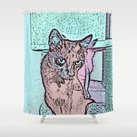comic Shower Curtains featuring Comic CAT by MehrFarbeimLeben