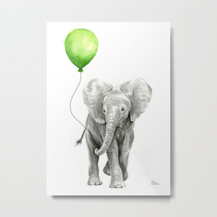 Baby Elephant Watercolor Green Balloon Neutral Color Nursery Decor Metal Print