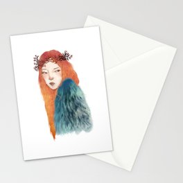 Berries Crown Girl Stationery Cards
