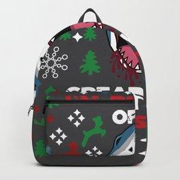 White Christmas Shark Ugly Cardigan Gift Backpack
