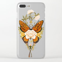 Butterfly Peonies Tattoo Clear iPhone Case