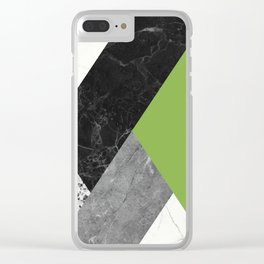 Black and White Marbles and Pantone Greenery Color Clear iPhone Case