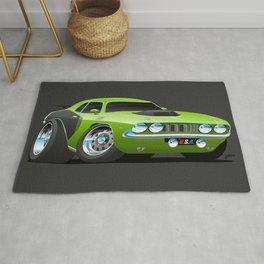 Classic Seventies Style American Muscle Car Cartoon Rug